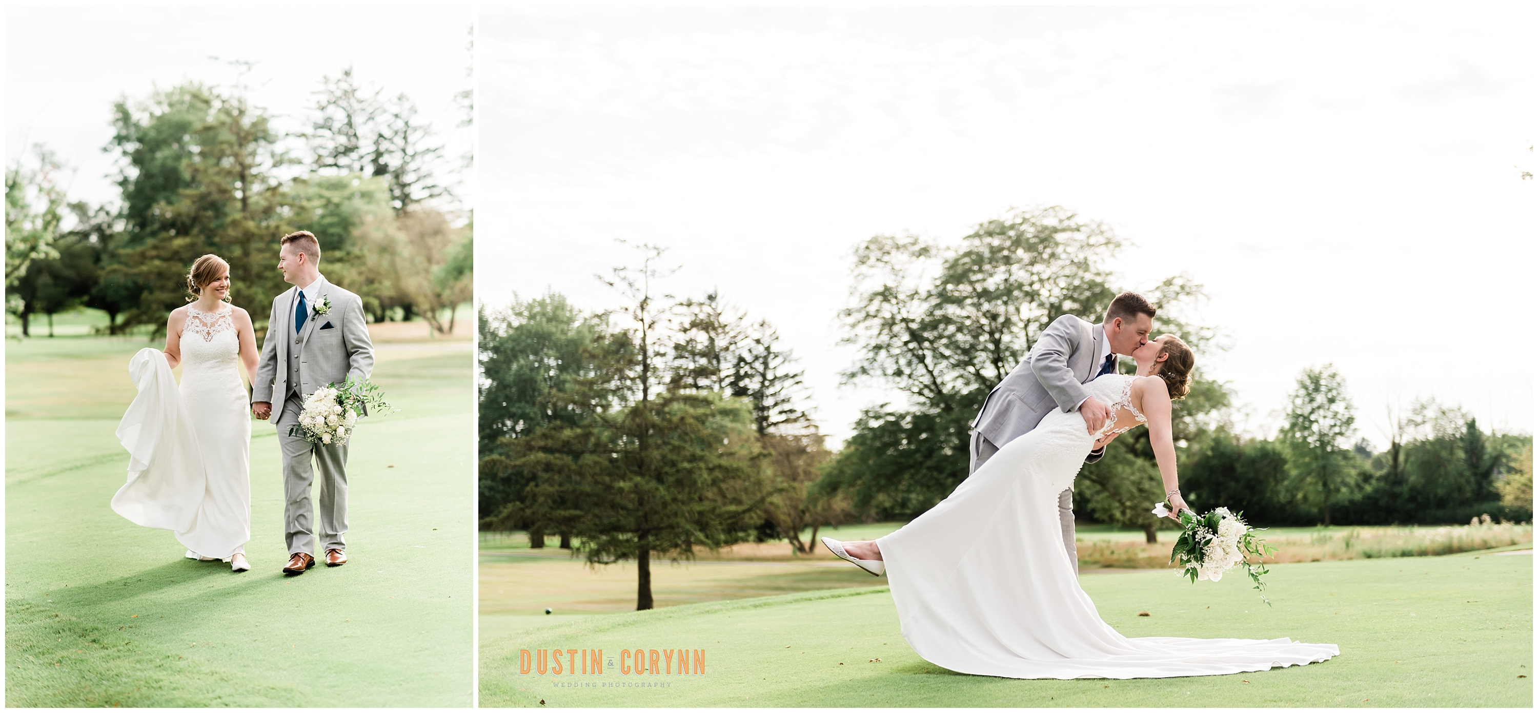 Bride and Groom Portraits at Decorations at the Orchard Ridge Country Club