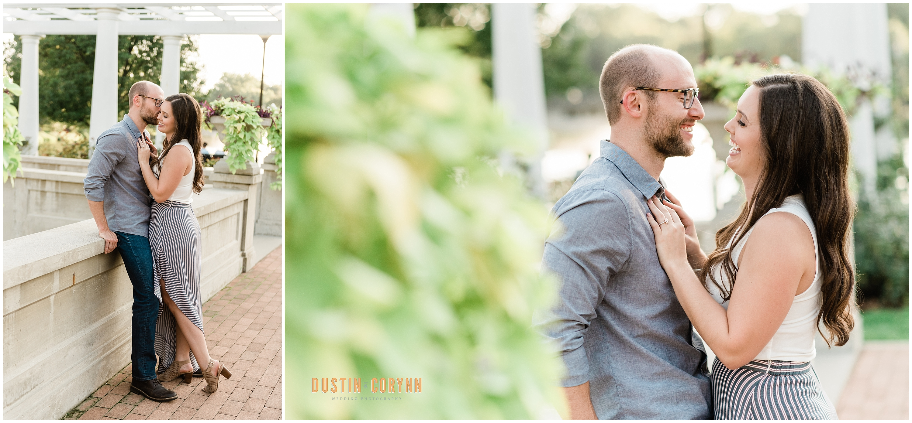Couple at Lakeside Rose Gardens Engagement Session