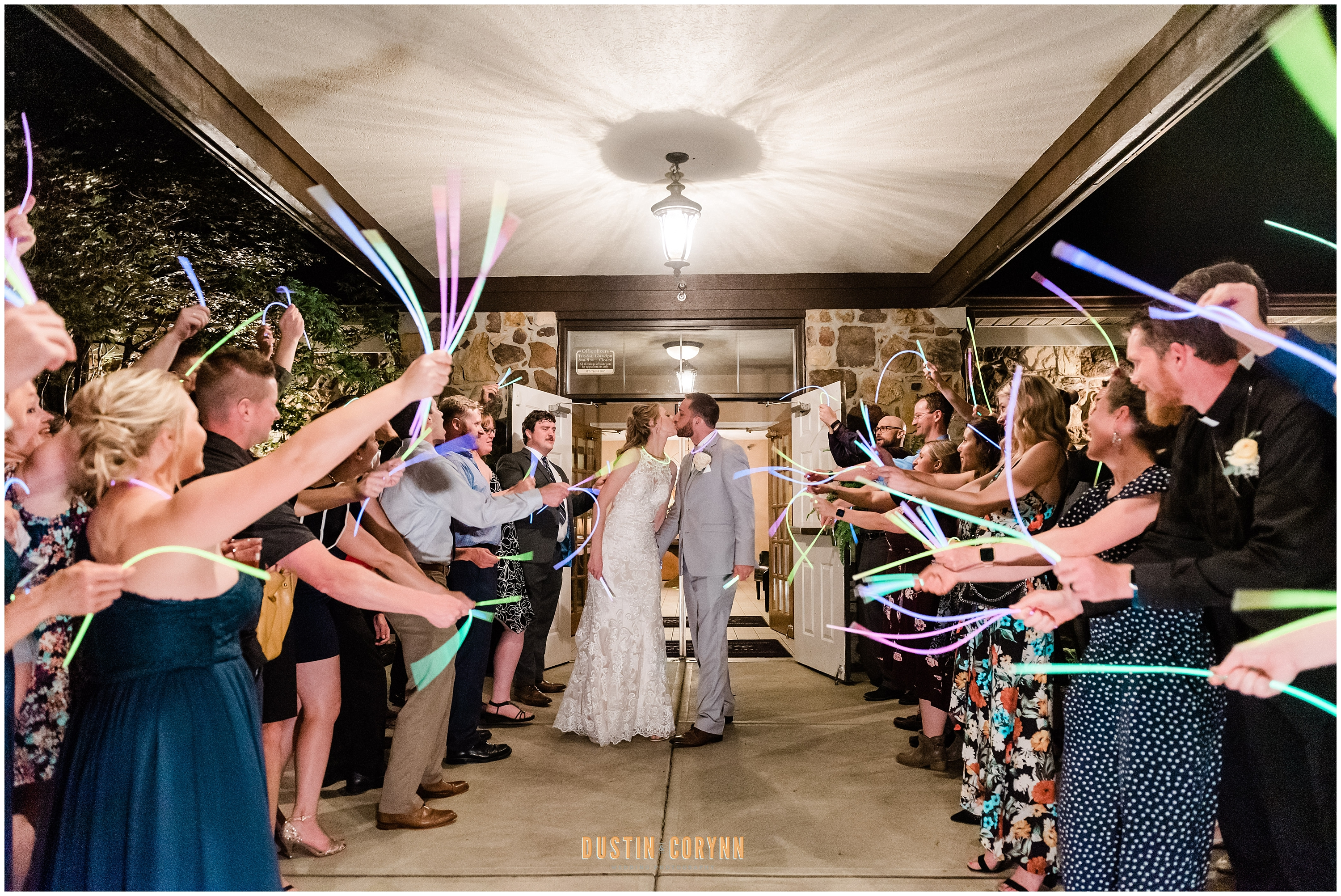 Glow Stick Exit at Carmel Wedding Reception