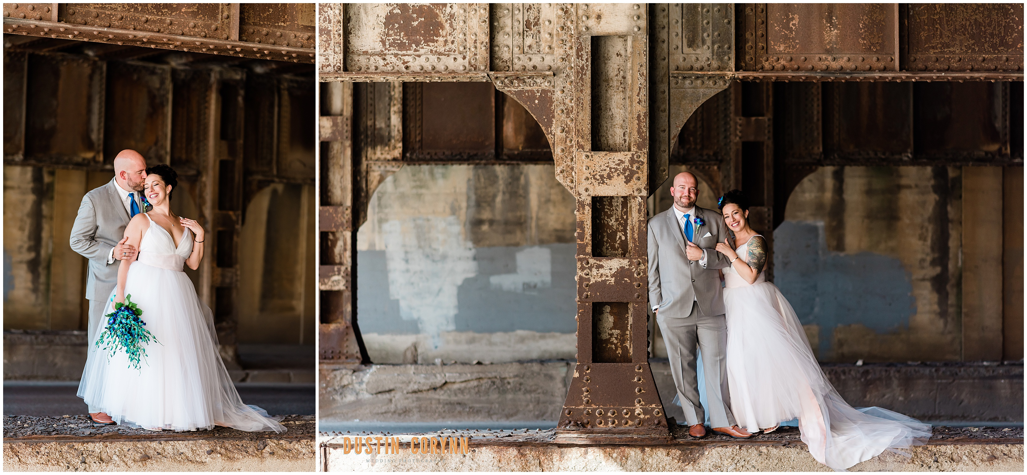 Bride and Groom portraits at Mavris Arts Center Wedding