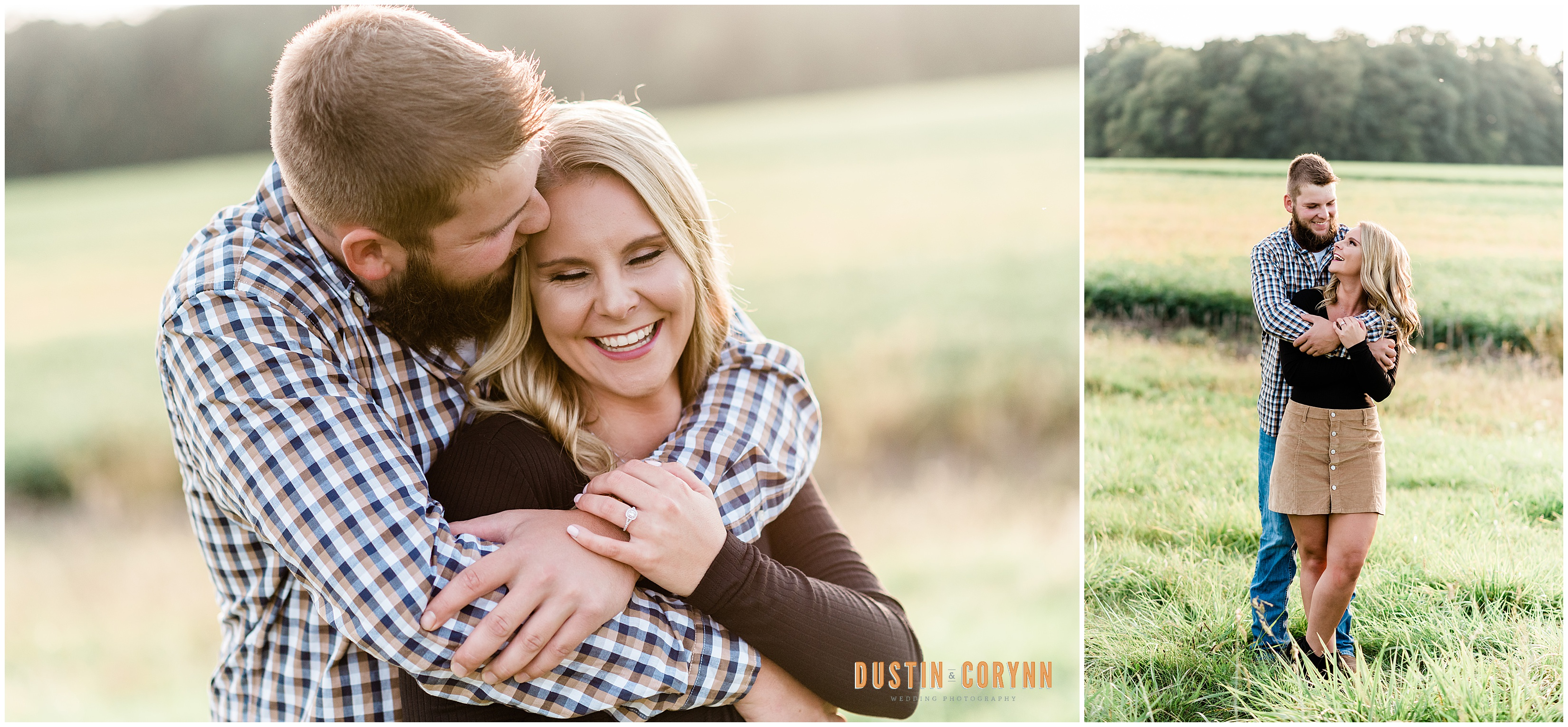Couple at Family Farm Engagement