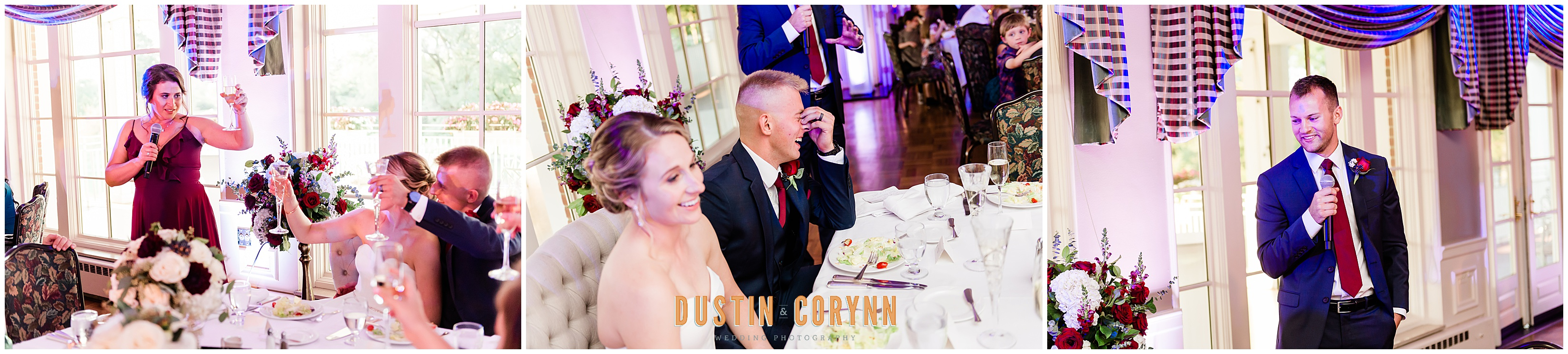 Best Man and Maid of Honor Toasts at Fort Wayne Country Club Wedding