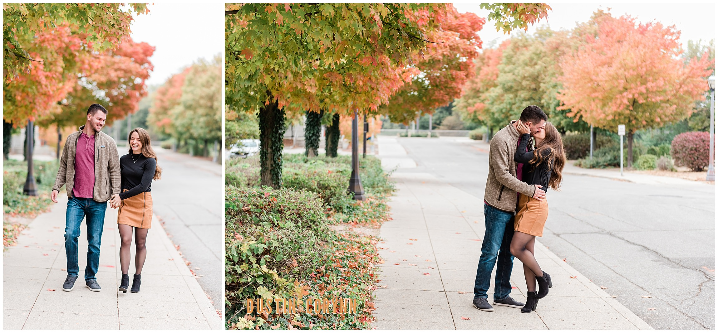 Couple Walking Down the Street during Downtown Engagement Session